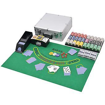 vidaXL jeu de poker/blackjack combiné avec 600 puces laser aluminium