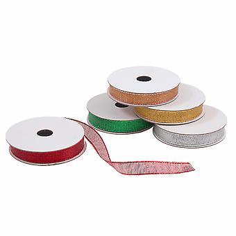 LAST FEW - 5 rouleaux 9mm Christmas Glitter Craft Ribbon Multipack - 2m