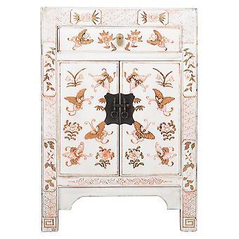 Fin AsiatiskLiving Kinesisk Nattbord Hvit Håndmalte Sommerfugler W40xD32xH60cm