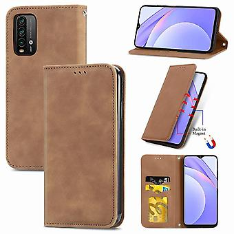 Case For Xiaomi Redmi 9 Power Magnetic Closure Leather Wallet Cover Housse Etui Shockproof - Marron