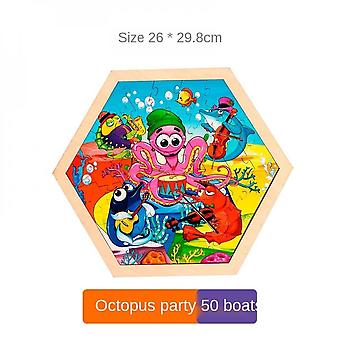 3-7 Years Old Children's Round Wooden Educational Toys-(party)