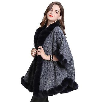 Warm Wraps Shawls With Faux Fur Trimming Grey Cardigan Loose Cape For Lady