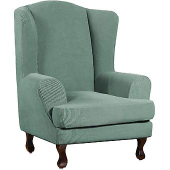 Stretch jacquard wingback chair covers slipcovers wing chair covers (base cover plus seat cushion cover, cyan)