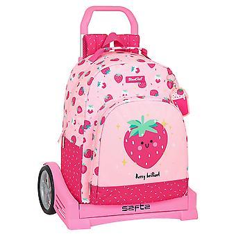 School Rucksack with Wheels BlackFit8 Berry Brilliant Pink