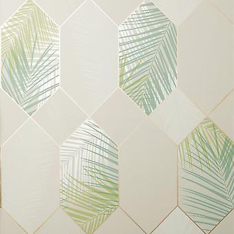 Fine Decor Miami Troprical Geo Natural Green Wallpaper FD42834