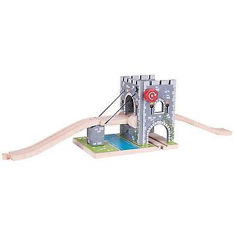 おもちゃの列車はビッグジグレール木製の引き出し橋を設定します - 木製列車セットアクセサリー