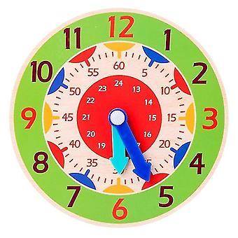 Giocattoli di aiuto didattico con orologio montessori in legno per bambini (verde chiaro)