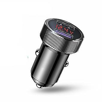 Fém kettős usb telefon autó töltő LED digitális kijelzővel(fém QC3.0 Black 2)