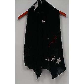 ピースラブワールドは、星のプリントブラックスカーフA297429のために手を伸ばす
