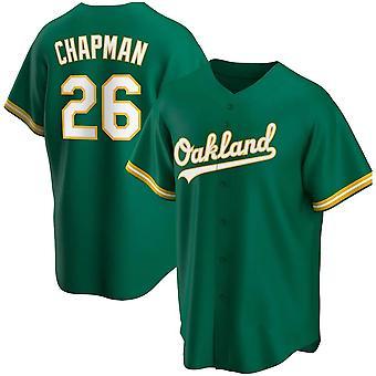 Pánské baseballové dresy Atletika 26 Chapman 24 Henderson Player Jersey 90s Hip Hop Game Fans Sportovní baseballové uniformy Tričko Zelená bílá Velikost S-xxxl