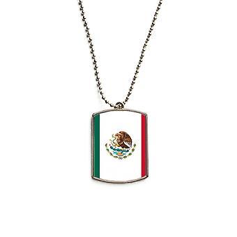 Drapeau national du Mexique Pendentif d'étiquette d'animal en acier inoxydable