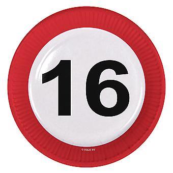 Il numero di segno di traffico della piastra di partito 16 compleanno piastre 8 pz carta festa piastre