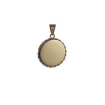 9ct Gold 25mm plain twisted wire edge flat round Locket