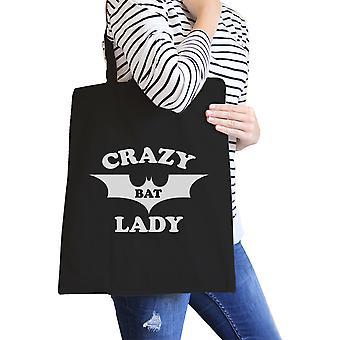 Crazy Bat Lady Black Heavy Cotton Graphic Canvas Tote Beach Bag