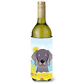 Weimaraner Summer Beach Wine Bottle beverage Insulator Hugger