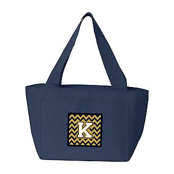 Letter K Chevron Navy Blue and Gold Lunch Bag