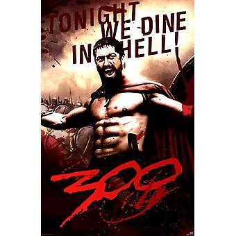 300 - Леонидас поужинайте в аду Плакат Плакат Печать