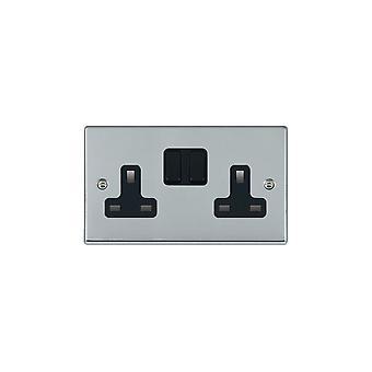 Hamilton Litestat Hartland Bright Chrome 2g 13A DP Switched Socket BL/BL