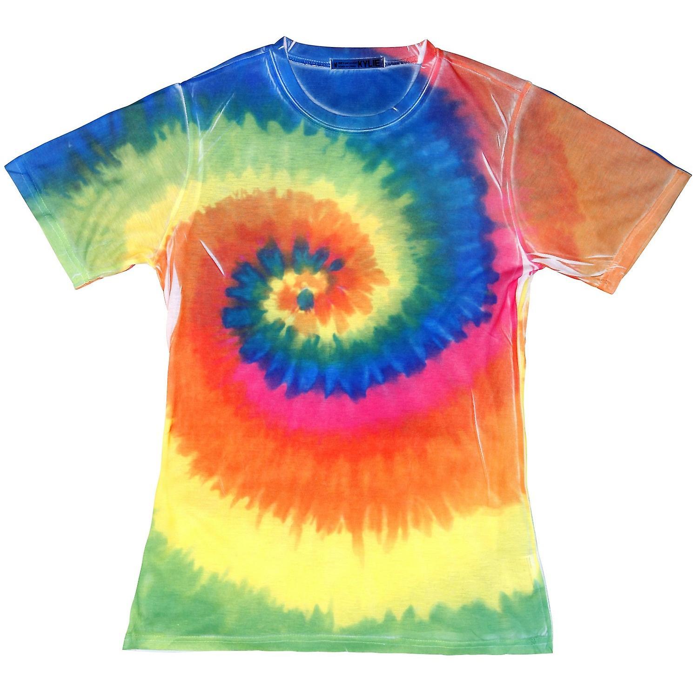 Colortone kvinnersdamer kort erme Rainbow Tie Dye t skjorte