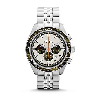 Fossila Mens Chronograph Watch rostfritt stål armband vit urtavla CH2913