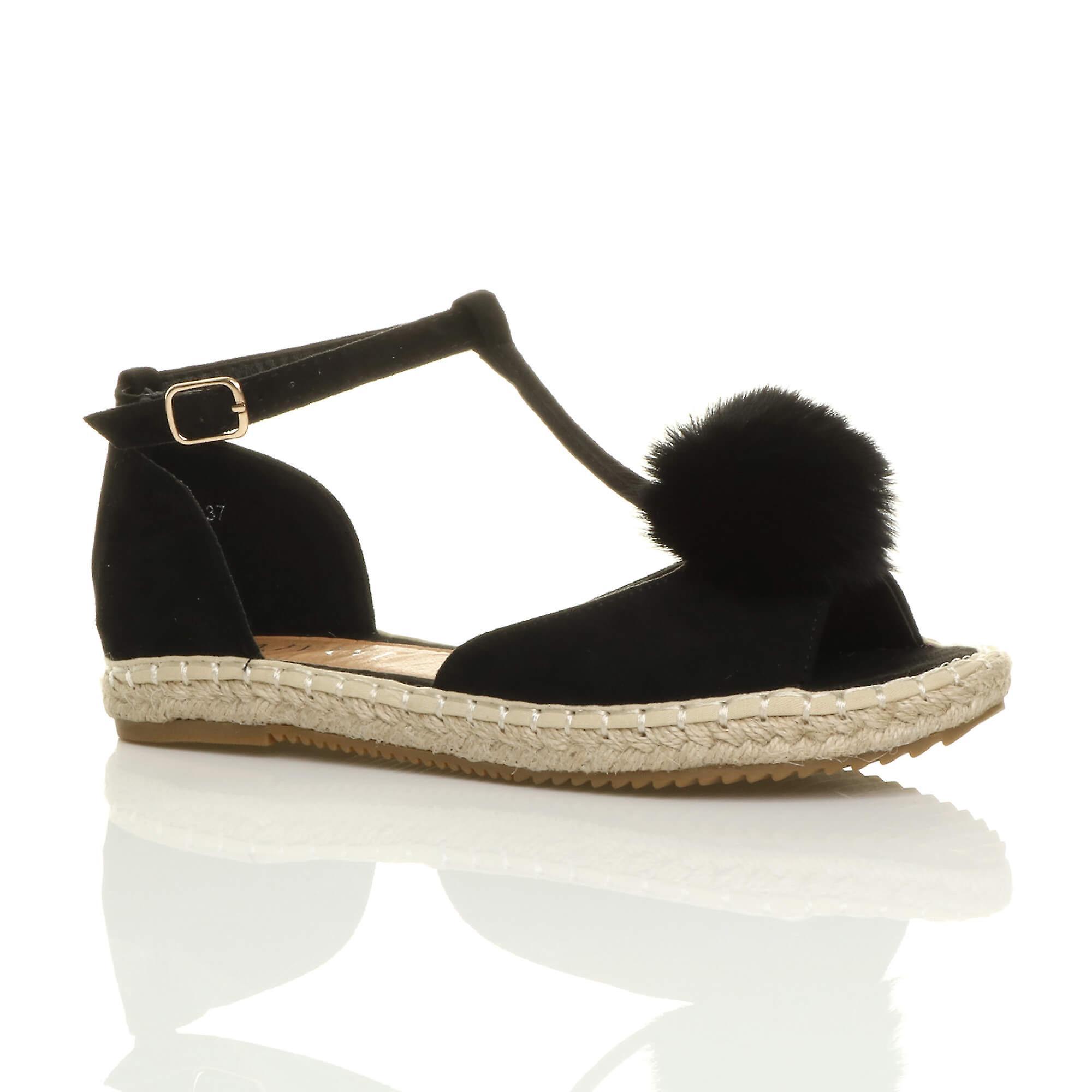 Ajvani womens flat t-bar pom pom buckle peep toe shoes espadrilles sandals A8I54