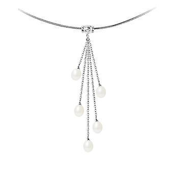 Krage kvinne i massiv sølv 925/1000 og 5 perler av hvit ferskvann kultur