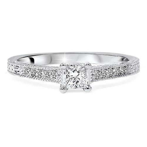 1/3ct Princess Cut Diamond Engagement Ring 14K White Gold