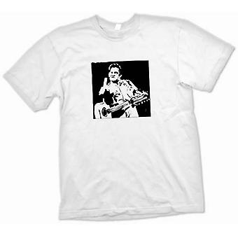 Camiseta mujer-Johnny Cash dedo - BW - Pop Art