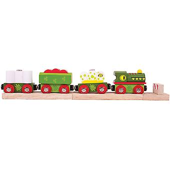 Bigjigs Rail Wooden Dinosaur Railway Engine and Carriages Locomotive Play Set