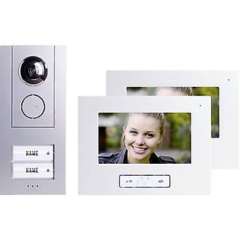 m-e modern-electronics Vistus VD 6720 Video door intercom Corded Complete kit Semi-detached Silver, White