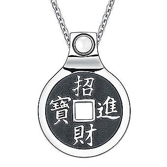 Feng Shui Glücksmünze Amulett Kanji Magic Fortune Befugnisse Charme Weiße Katzen Auge Halskette