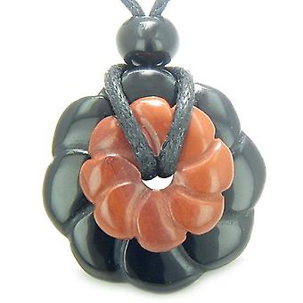 Dobbelt heldig Amulet magiske blomster Donuts Onyx rød Jasper krystal mener åndelige vedhæng halskæde