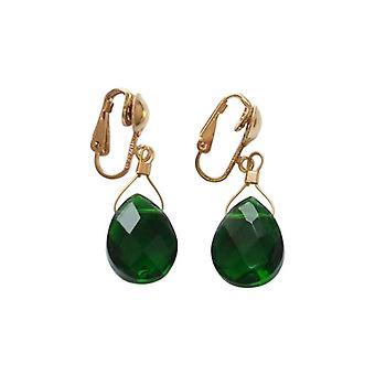 Boucles d'oreilles Gemshine Ladies Ear ClipsVergoldet Tourmaline Quartz Drop Green