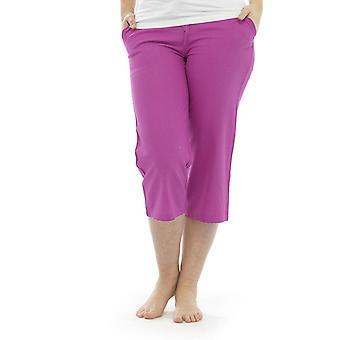 Womens Solid Colour Linen 3/4 Length Trouser Bottoms Lounge Wear Pants - Pink - 10