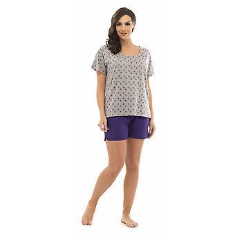 Ladies Tom Franks Star Burnout T-Shirt Top & Shorts Pyjama Set Lounge Wear 8-10 Grey Top