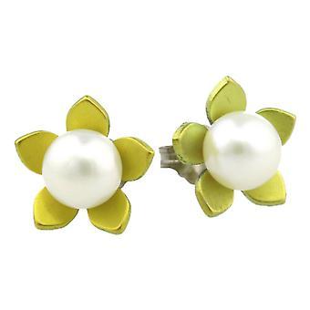 TI2 titanio grande fiore e orecchini di perle - giallo limone
