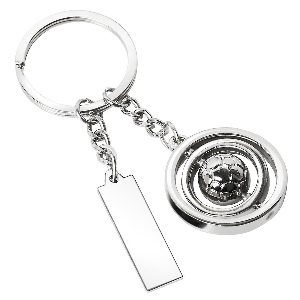 TRIXES Silver Rotating Football metal swivel Keyring with Tag