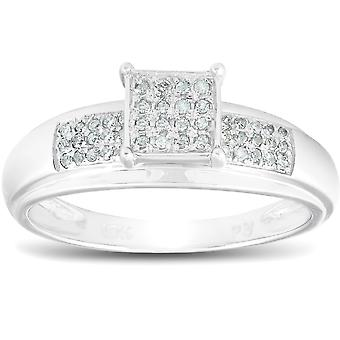 1 / 4ct Принцесса Cut Diamond участия проложить кольцо твердого 10K Белое золото