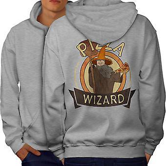 Pizza Food Wizard Men GreyHoodie Back | Wellcoda