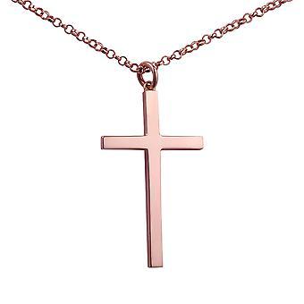 9ct Rose Gold pas inverse 40x24mm plaine bloc plein de croix avec un pouce de large belcher Chain 24 2,2 mm