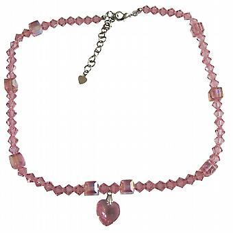 Rose Pink Swarovski w/ AB Rose Pink Crystals Heart Pendant Necklace