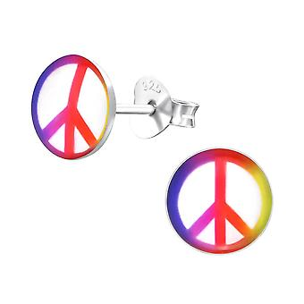 Children's Sterling Silver Colourful Peace Sign Stud Earrings