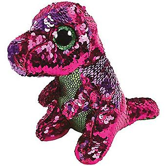 Ty-Beanie Boos Flippables Stompy Dinosaur Sequin Pink/Purple Soft Toy