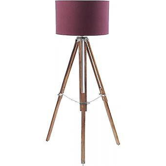 Libra Furniture Natural Wood And Nickel Tripod Floor Lamp With Burgundy Shade