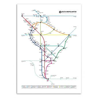 Art-Poster - South America Metro Map - Olivier Bourdereau