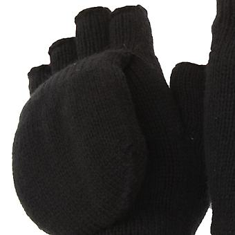 FLOSO Unisex Mens/Womens Thinsulate Thermal Capped Winter Fingerless Gloves (3M 40g)