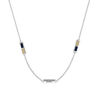 The George Washington University Sterling Silver Engraved Triple Station Necklace In Blue & Tan