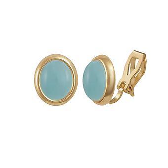 Eeuwige collectie Menuet Aqua Quartz Cabochon Gold Tone Stud Clip op oorbellen
