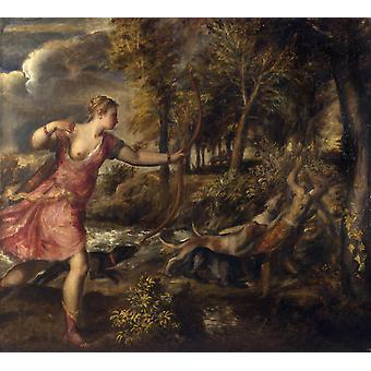 The Death of Actaeon,Titian,50x45cm