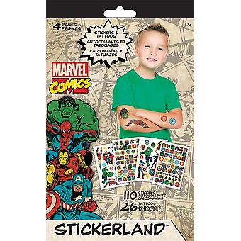 Autocollant - Tattoo Stickerland Pad - Marvel Classic - 4 pages Toys Gifts Stationery New tt3499
